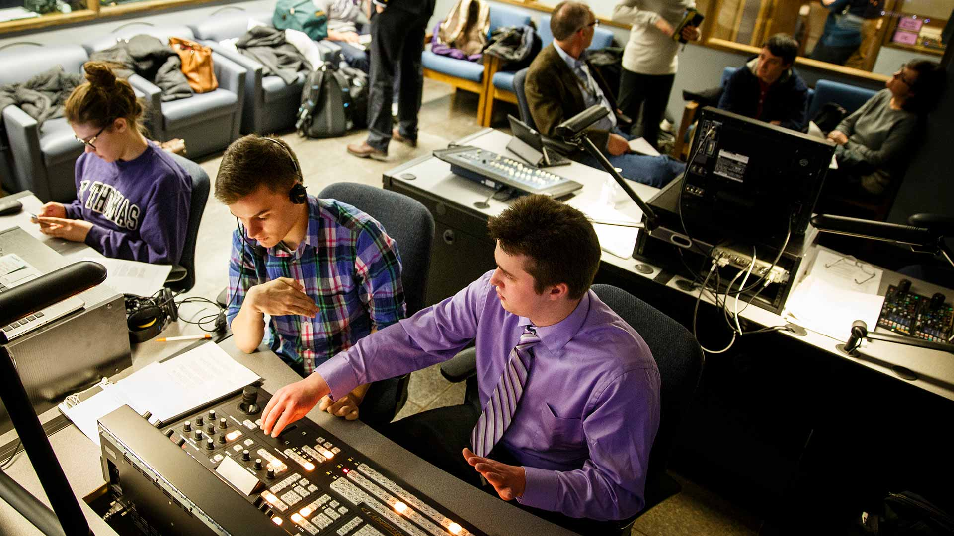 "Students work in the control room during production of the TommieMedia program ""The Locker Room"" in the TV studio in O'Shaughnessy Educational Center (OEC)."