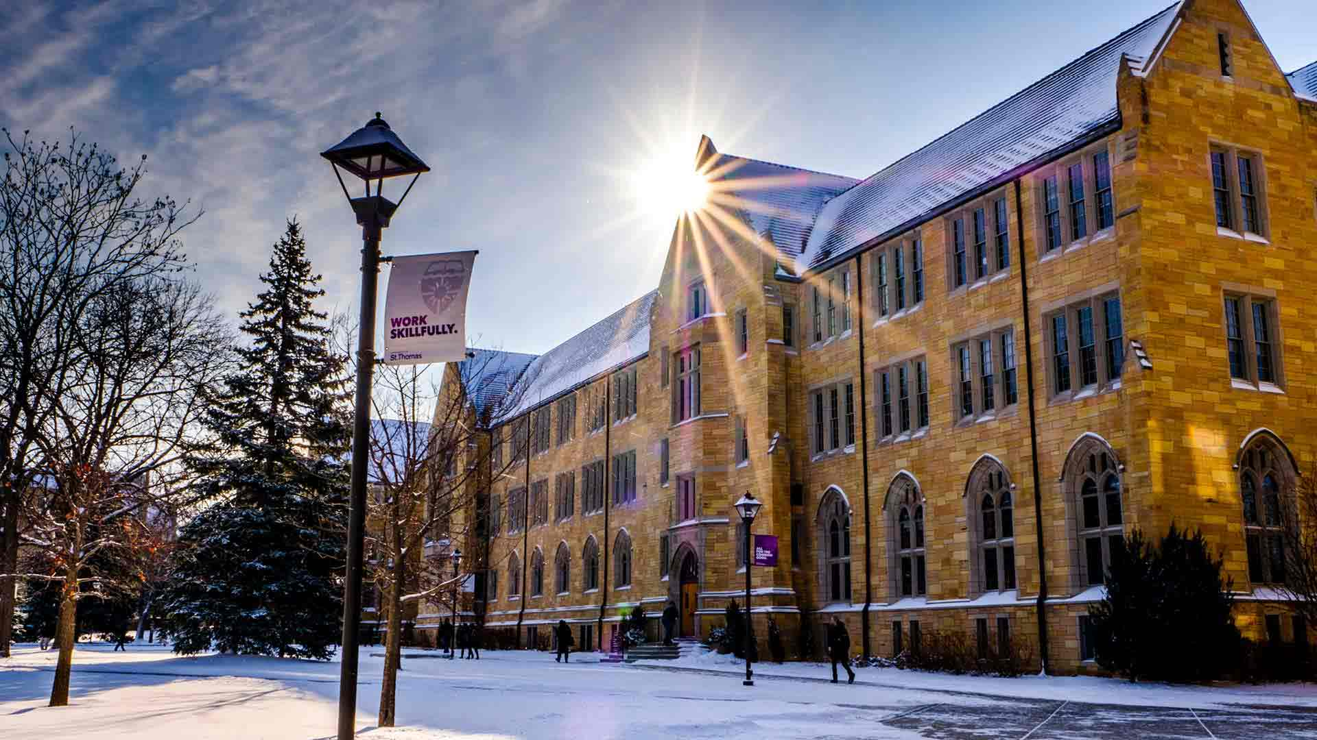 University of St. Thomas campus in the winter on a sunny day.