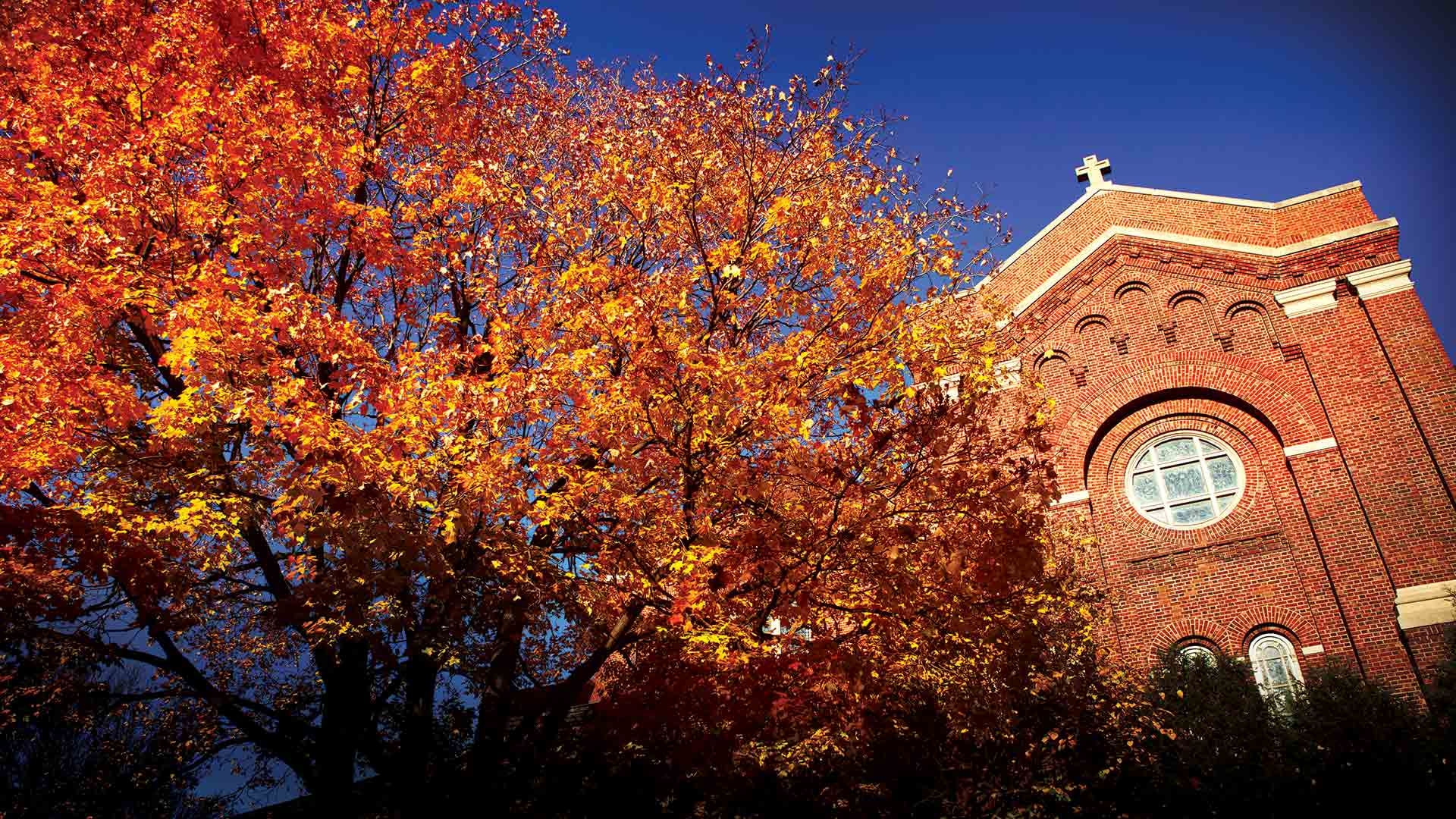 The Chapel of St. Thomas Aquinas in autumn surrounded by red and orange trees.