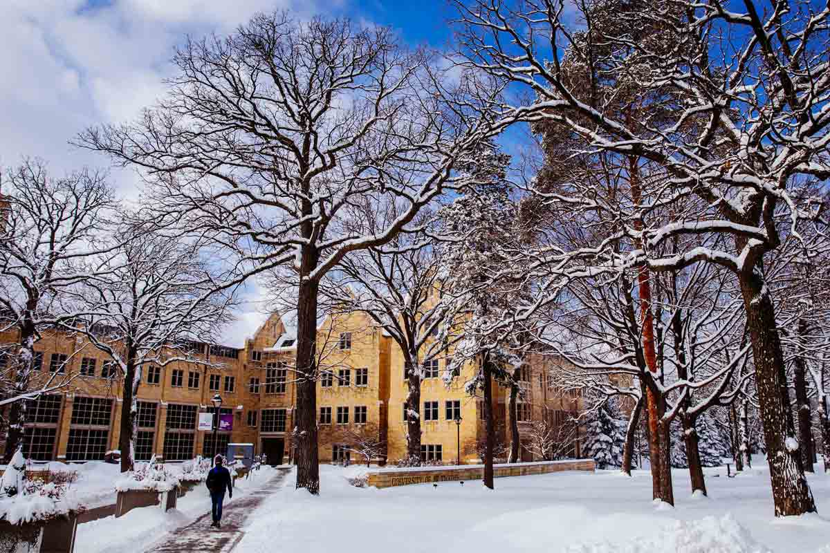 St. Thomas south campus on lightly dusted with a fresh snowfall.