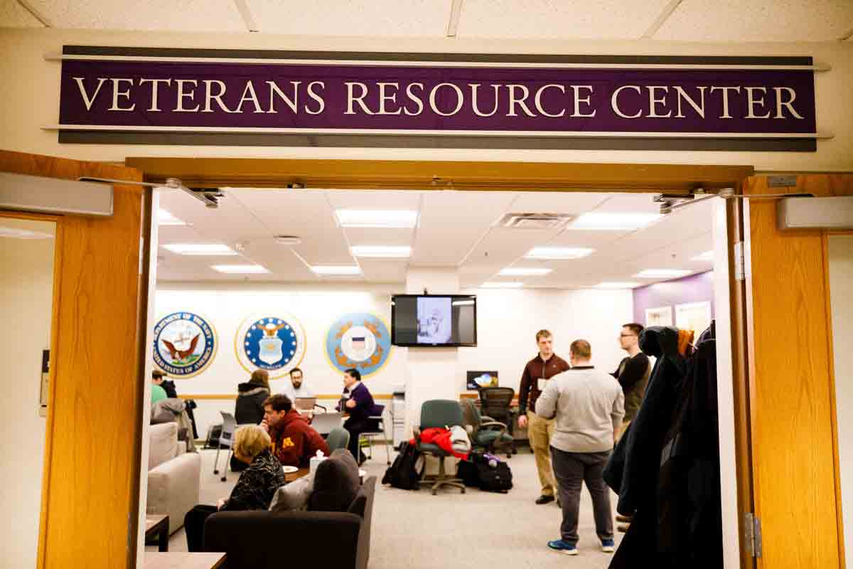 A view of the inside of the Veterans Resource Center from the outside.
