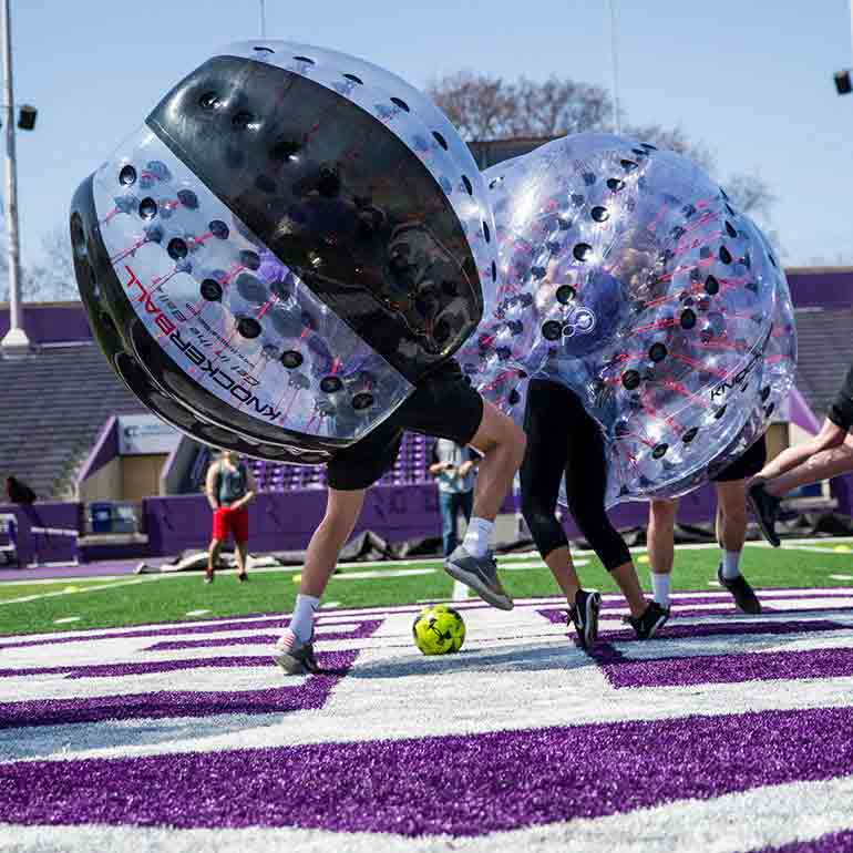 Seniors play soccer during the Senior Knockerball Tournament in O'Shaughnessy Stadium.