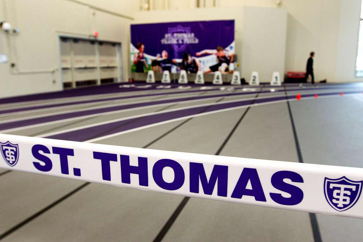 A view of the University of St. Thomas logo at the AARC field house.